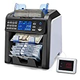 MUNBYN 2-Pocket Bill Counter and Sorter, Money Counter Machine Mixed Denomination Total Value Serial Number Multi Currency 2CIS/UV/MG/MT/IR, Cash Counter Bill Recognize, Printing Enabled&2 Yr Warranty