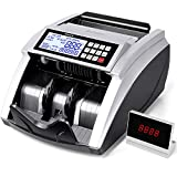 PONNOR Money Counter Machine with UV/MG/IR/MT Detection, Bill/Cash Counting Machine with Add & Batch Modes, LCD Display, 1,000 Bills/Min,Count Value of Bills